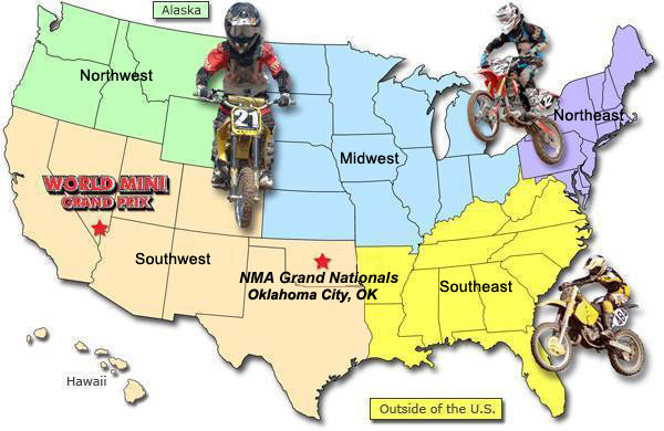 National Motosport Association regions map